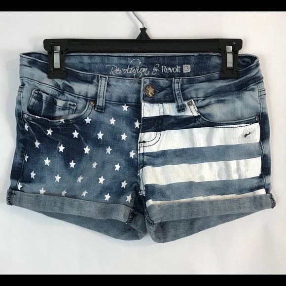 Revolt Jeans Pants - Revolt Cuffed Shorts Stars and Strips Size 3